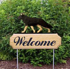 German Shepherd Dog Breed Oak Wood Welcome Outdoor Yard Sign Black w/ Tan Points