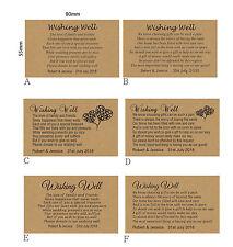 100 Personalised WISHING WELL KRAFT CARDS General Poem Wedding Invitations