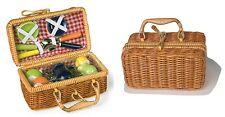 Cesta picnic 17 pezzi in vera porcellana servizio da tè per bambole