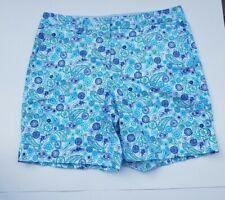 Lands End Mid Rise Cyan Paisley Shorts sz 8 Womens EUC Aqua Blue Green Paisley