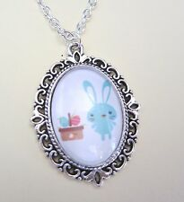 "Happy Easter Bunny & Basket Silver Plated 18"" Necklace New in Gift Bag"