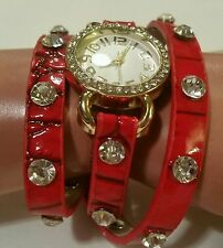 ■HEAD TURNER■ WRAP-AROUND RED FAUX LEATHER RHINESTONE STUDDED GOLD BLING WATCH