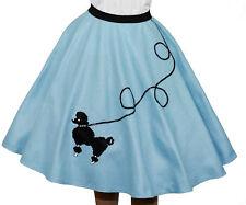 "Light Blue FELT Poodle Skirt _ Girl Size LARGE (Age 10-13) _ Waist 23""- 31"""