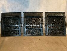 STUNNING SET OF 3 AMERICAN VICTORIAN ORNAMENTAL CAST IRON FIREPLACE GAS COVERS