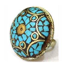 Huge Adjustable Tibetan Turquoise Inlay Spiral Circle Engraved Brass Amulet Ring