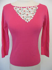 MICHELLE NICOLE Pink Long Sleeve Designer Top / Leather Flowers, PETITE M, NWT