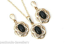 9ct Gold Black Onyx Celtic Pendant and Earring Set Gift Boxed Made in UK