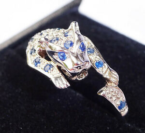 9ct White Gold Sapphire & Diamond Panther Leopard Ring, Size Q1/2