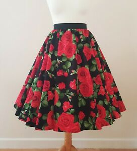 1950s Circle Skirt Large Roses Size 18 - Red Black Floral Rockabilly PinUp Dress