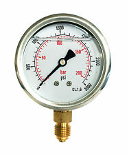 Hydraulic Pressure Gauge Glycerine Filled 0/3000 PSI 0/200 Bar 63mm Dial 1/4 BSP