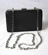 Prada Metal Framed Black Saffiano Leather Clutch Crossbody Bag