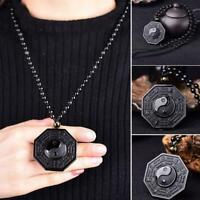 Frauen Obsidian Der Geschnitzte Yin Yang Ba Gua Halskette Glück Schmuck Z1T2