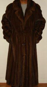 "Men's SAKS FIFTH AVENUE 49"" Long Mahogany Mink Fur Coat Size 42 FREE SHIPPING"