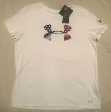 $25 Under Armour Freedom Global Womens White Short Sleeve T-Shirt Size Large