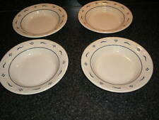 "Longaberger Pottery Set of 4 Classic Blue Woven Traditions 8"" Soup/Salad Bowls"