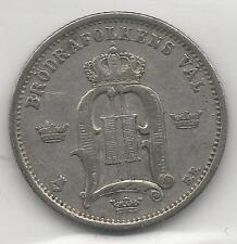 Sweden, 1877-Eb, 50 Ore, Silver, Km#519 (Y-21), Choice Very Fine