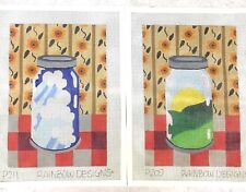 Rainbow Design 2 Hand Painted Needlepoint Canvases Canning Jars Sunny Cloudy Day
