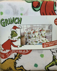 New The Grinch HO HO Flannel Cotton Twin Sheet Set Christmas Holiday rare