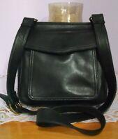 "Women's Super Cool Medium Black Leather ""FOSSIL""  Messenger Cross Body Bag Purse"