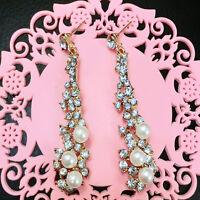 Vogue Chandelier Luxury Crystal Tassel Dangle Eardrop Hook Earrings Stud Women