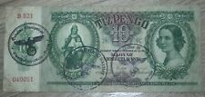 WW2 HUNGARY BANKNOTE. 10 PENGO. 3 DIFFERENT STAMPS. WW2 OCCUPATION. VERY RARE.