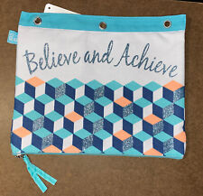 New Pen + Gear Canvas Quote Binder Pouch, Believe and Achieve