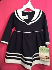 NWT Toddler Girls Bonnie Jean Navy Sailor Outfit 24m Winter Pageant 2pc Set $54