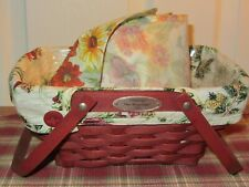 Longaberger 2006 Woven Memories Basket Combo Red, 2 Liners: Sunflower, Holiday