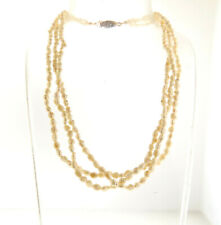 "Fresh Water Biwa Pearl Necklace Triple Multi Strand 16"""