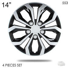 """NEW 14"""" ABS SILVER RIM LUG STEEL WHEEL HUBCAPS COVER 553 FOR VW"""
