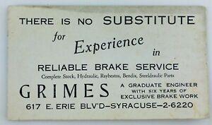 Vintage Grimes Reliable Brake Service Advertising Card Syracuse New York NY