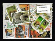 Eléphants 100 timbres différents oblitérés