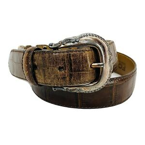 Fossil Western Belt Croc Embossed Brown Leather Women's Size M 28 - 32