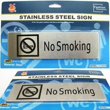 Stainless Steel No Smoking Sign Plaque Adhesive Indoors / Outdoors Never Rust