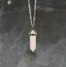 ** Rosa Rosa Cuarzo Curación Piedra Preciosa Colgante Collar de plata **