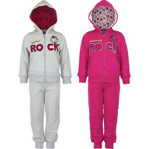 New Jogging Suit Set Leisure Girl Hello Kitty Pink Grey 98 104 116 128 #89