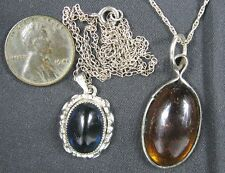 Lot of 2 Vintage Silvertone Necklaces Amber & Sapphire Stones 18""