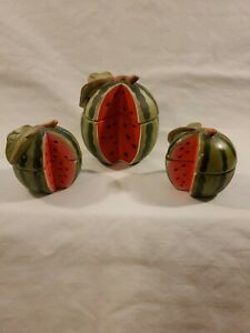 Bisque Porcelain Watermelon Candle Set 3 Pieces