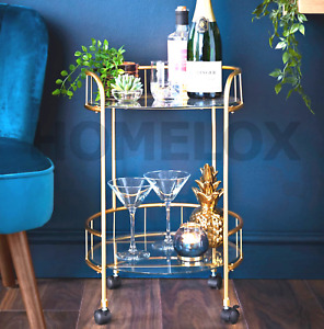 NEW Gold Drinks Trolley With Glass Shelves Mini Bar Cocktail Table Drink Table