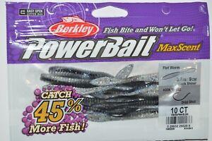 "berkley powerbait maxscent flat worm 3.6"" black shiner NEW"