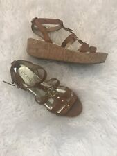 Michael Kors Brown Leather Strappy Hyden Logo Cork Sandals Size 9.5