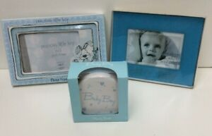 Baby Boy Gift Set Photo Frames x 2 And Money Box New Boxed (850D52)
