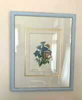 "Refab Framed and Matted Print Floral Shabby Chic Blue Frame 17.5"" x 21.5"""