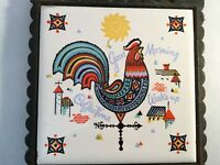 Vintage Cast Iron Trivet Made in Japan NORCREST Rooster Coffee Weather Vane