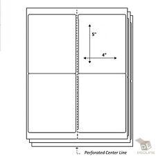100 Sheets 4 Labels Per Sheet Perforated 4 Up Address Laser Inkjet Labels 4x5