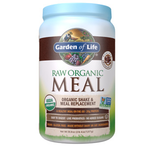 Garden of Life Raw Organic Meal Replacement Shake Powder, Chocolate, 20g Protein
