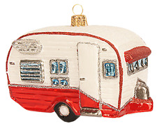 Vintage Trailer Camping Glamping Camp Travel Glass Christmas Ornament 110188