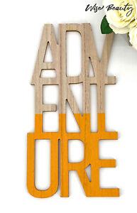 """Adventure Laser Cut Script Wood Wall Plaque Sign Art Decor 16.5"""" X 8.5"""" NEW"""