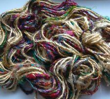 Hilado de Sari de seda de primera calidad, Oro/Multicolor 100g. artesanías textiles/punto/Crochet/Tejido