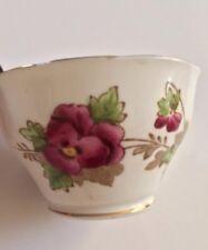 Gold Rim Purple & Yellow Pansy Salisbury Bone China Tea Bowl Made in England